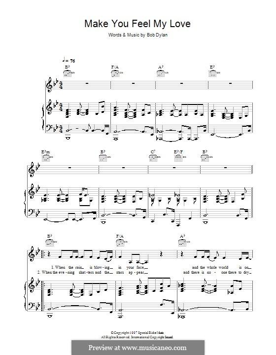 Make You Feel My Love: para voz e piano ou guitarra (B Flat maior) by Bob Dylan