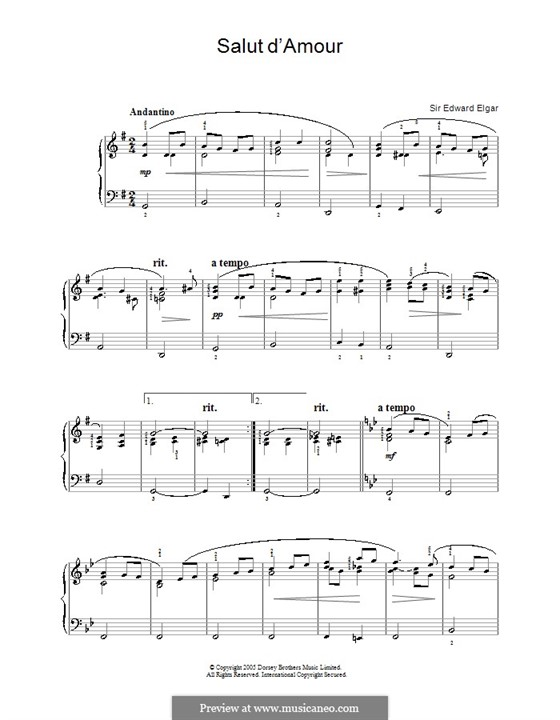 Salut d'amour (Love's Greeting), Op.12: Facil para o piano by Edward Elgar