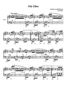 For Elise, for Piano, WoO 59: para dedilhado by Ludwig van Beethoven