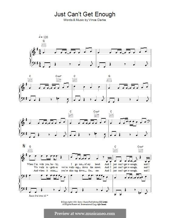 Just Can't Get Enough (Depeche Mode): Para vocais e piano (ou Guitarra) by Vince Clarke
