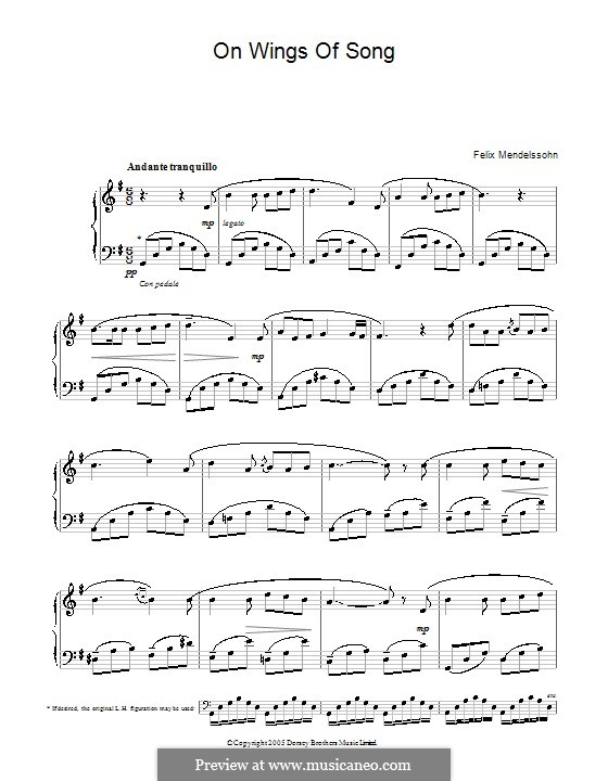 Six Songs, Op.34: No.2 Auf flügeln des gesanges (On Wings of Song). Version for piano by Felix Mendelssohn-Bartholdy
