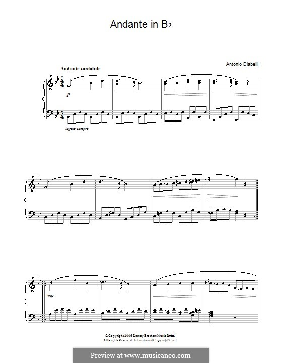 Andante in B Flat Major: Andante in B Flat Major by Anton Diabelli