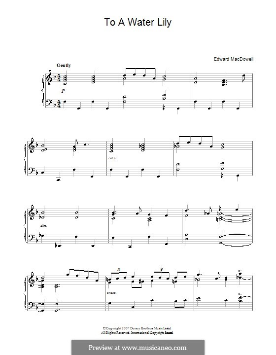 No.6 To a Water-Lily: Para Piano by Edward MacDowell