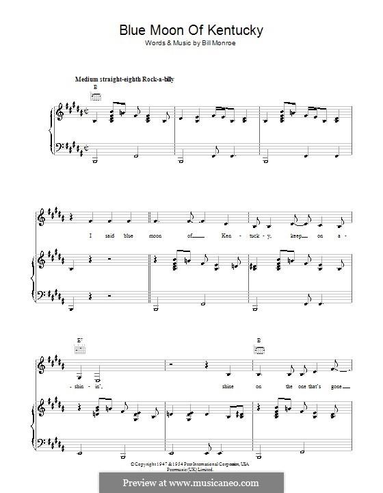 Blue Moon of Kentucky: Para vocais e piano (ou Guitarra) by Bill Monroe