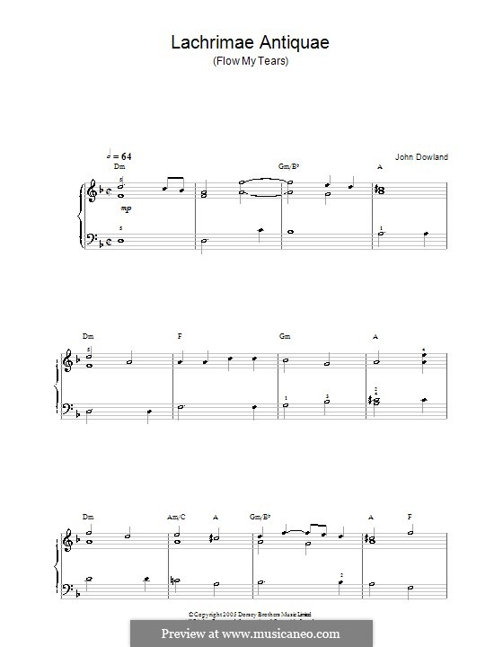 Flow My Tears (Lachrimae Antiquae): Para Piano by John Dowland