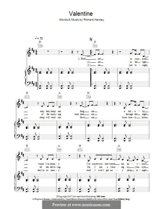 Valentine: Para vocais e piano (ou Guitarra) by Richard Hawley