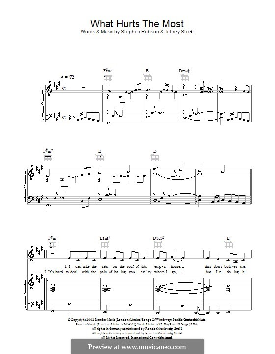 What Hurts the Most (Rascal Flatts): Para vocais e piano (ou Guitarra) by Jeffrey Steele, Steve Robson