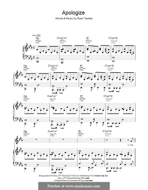 Apologize (OneRepublic): para vocais,piano ou guitarra by Ryan B Tedder