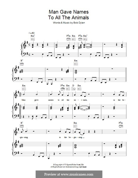 Man Gave Names to All the Animals: Para vocais e piano (ou Guitarra) by Bob Dylan