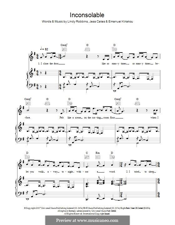 Inconsolable (Backstreet Boys): Para vocais e piano (ou Guitarra) by Emanuel Kiriakou, Jess Cates, Lindy Robbins