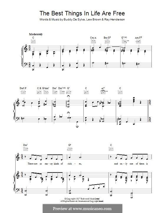 The Best Things in Life are Free (Dinah Shore): Para vocais e piano (ou Guitarra) by Buddy Gard DeSylva, Ray Henderson, Lew Brown