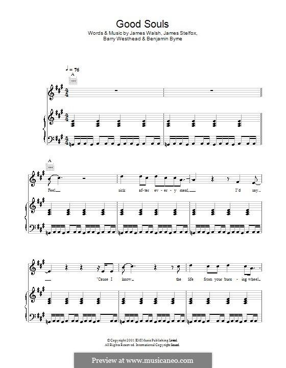 Good Souls (Starsailor): Para vocais e piano (ou Guitarra) by Barry Westhead, Benjamin Byrne, James Stelfox, James Walsh