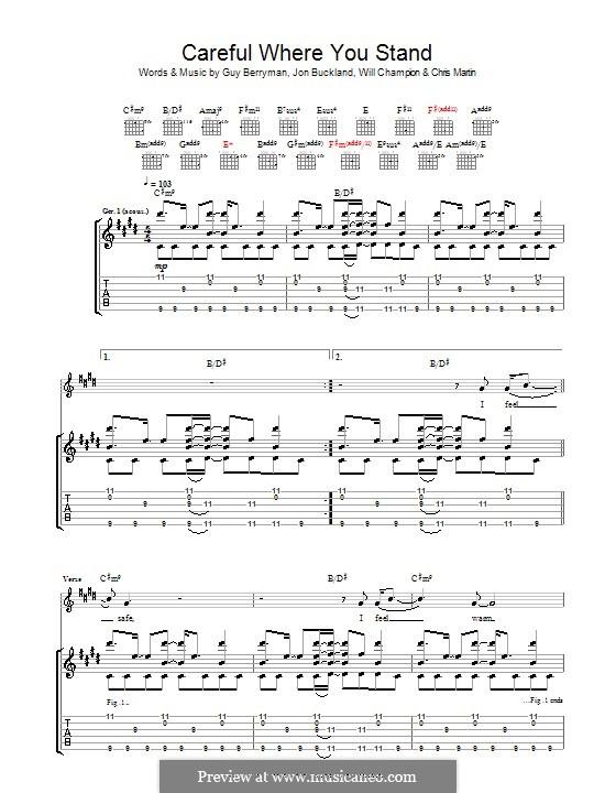 Careful Where You Stand (Coldplay): Para guitarra com guia by Chris Martin, Guy Berryman, Jonny Buckland, Will Champion