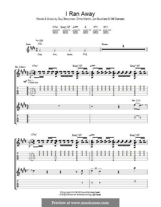 I Ran Away (Coldplay): Para guitarra com guia by Chris Martin, Guy Berryman, Jonny Buckland, Will Champion