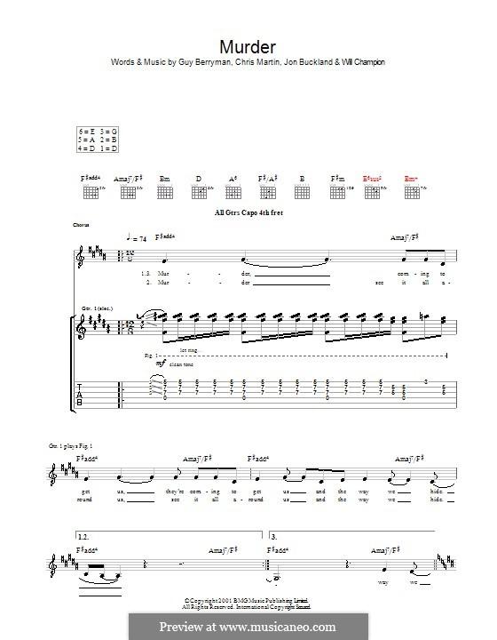 Murder (Coldplay): Para guitarra com guia by Chris Martin, Guy Berryman, Jonny Buckland, Will Champion