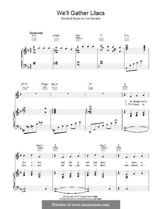 We'll Gather Lilacs: Para vocais e piano (ou Guitarra) by Ivor Novello