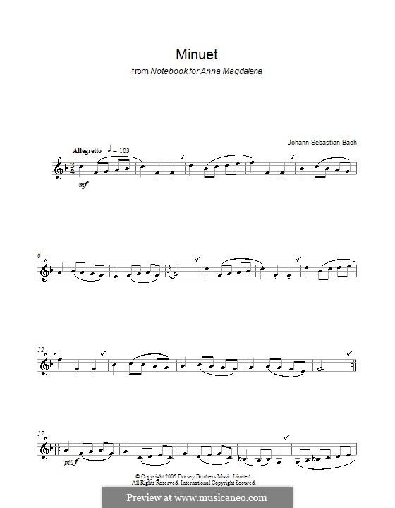 No.4 Minuet in G Major, BWV Anh.114: para clarinete by Johann Sebastian Bach