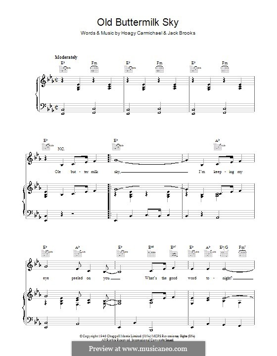 Old Buttermilk Sky: Para vocais e piano (ou Guitarra) by Jack Brooks