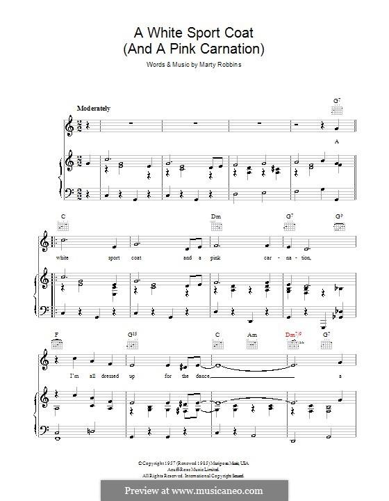 A White Sport Coat (And a Pink Carnation): Para vocais e piano (ou Guitarra) by Marty Robbins