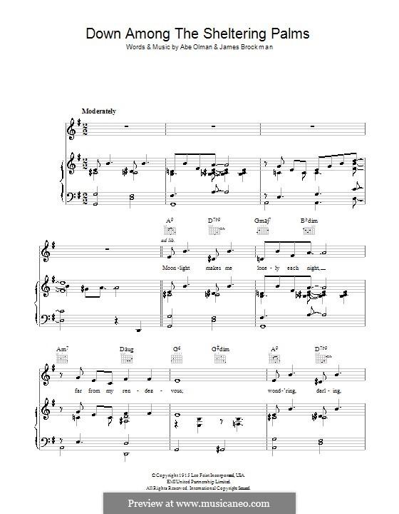 Down Among the Sheltering Palms (The Chordettes): Para vocais e piano (ou Guitarra) by Abe Olman, James Brockman