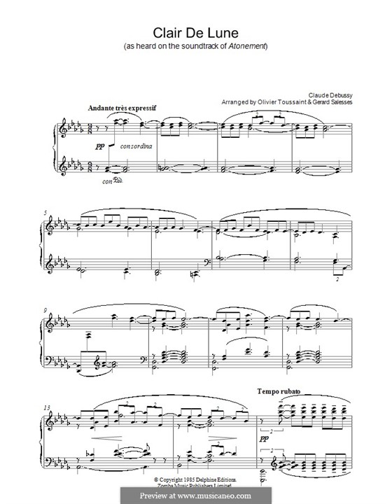 No.3 Clair de lune, for Piano: Version by G. Salessen and O. Toussaint by Claude Debussy