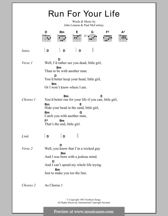 Run for Your Life (The Beatles): Letras e Acordes by John Lennon, Paul McCartney
