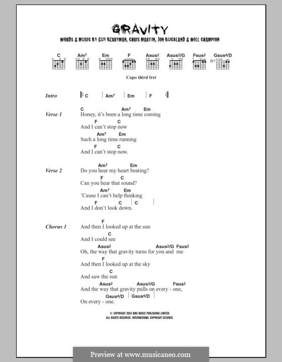 Gravity (Embrace): Letras e Acordes by Chris Martin, Guy Berryman, Jonny Buckland, Will Champion