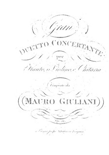 Grand Duo Concertante for Guitar and Flute (or Violin), Op.52: Grand Duo Concertante for Guitar and Flute (or Violin) by Mauro Giuliani