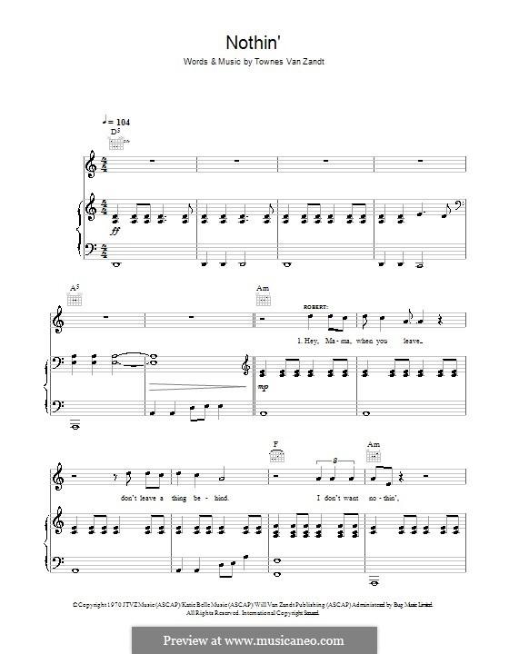 Nothin': Para vocais e piano (ou Guitarra) by Townes Van Zandt