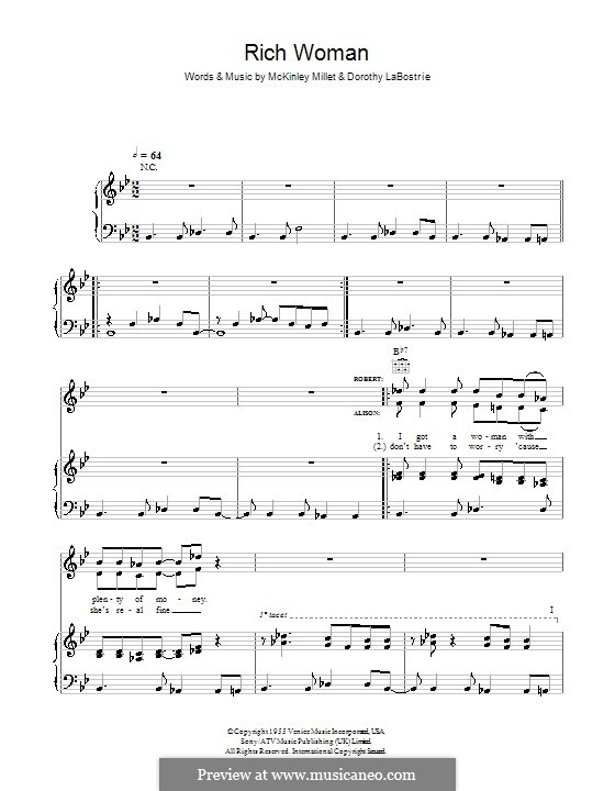 Rich Woman (Robert Plant and Alison Krauss): Para vocais e piano (ou Guitarra) by Dorothy LaBostrie, McKinley Millet