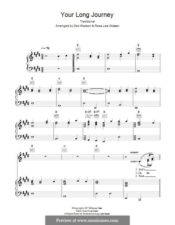 Your Long Journey: Para vocais e piano (ou Guitarra) by folklore