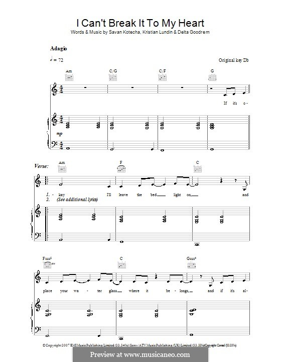 I Can't Break It To My Heart: Para vocais e piano (ou Guitarra) by Kristian Lundin, Savan Kotecha