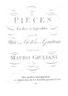 Sixteen Easy Pieces for Flute (or Violin) and Guitar, Op.74: Sixteen Easy Pieces for Flute (or Violin) and Guitar by Mauro Giuliani