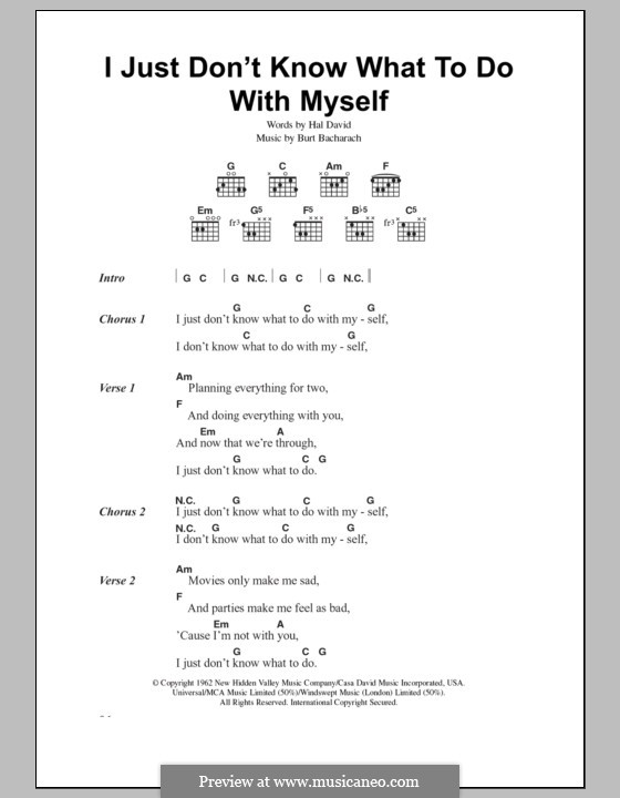 I Just Don't Know What to Do With Myself: Lyrics and chords (The White Stripes) by Burt Bacharach