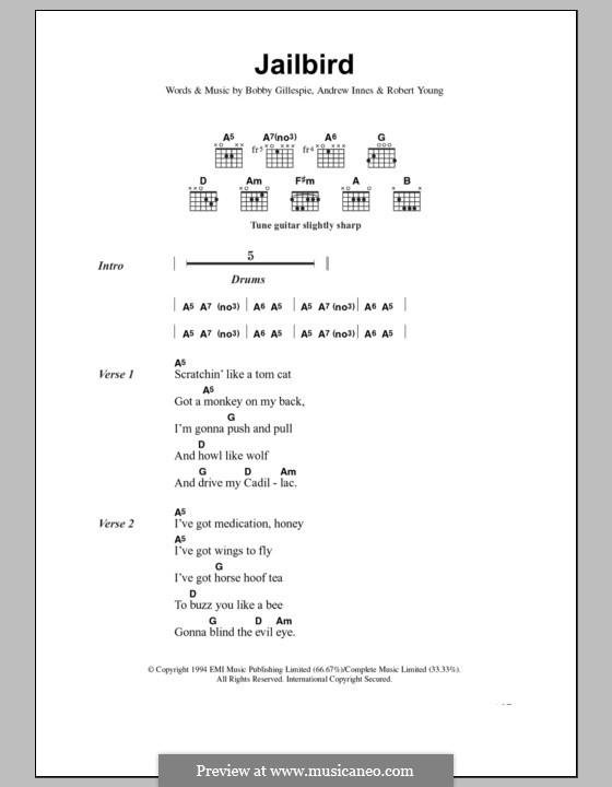 Jailbird (Primal Scream): Letras e Acordes by Andrew Innes, Bobby Gillespie, Robert Young