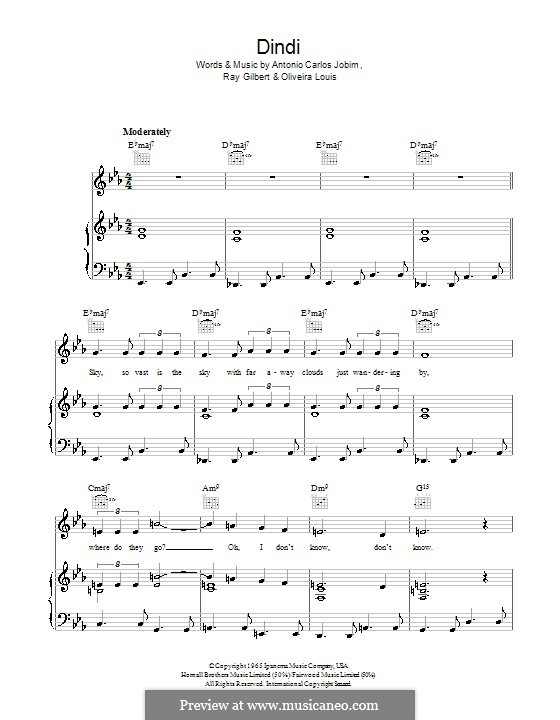 Dindi: Para vocais e piano (ou Guitarra) by Oliveira Louis, Ray Gilbert