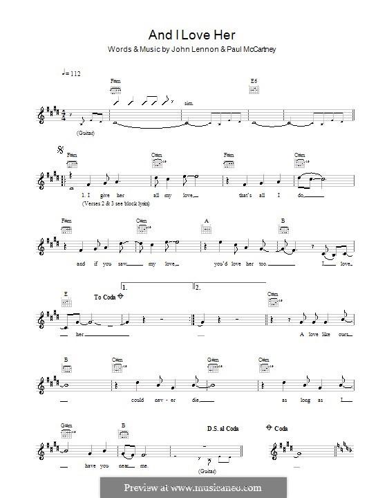 And I Love Her (The Beatles): melodía,letras e acordes by John Lennon, Paul McCartney
