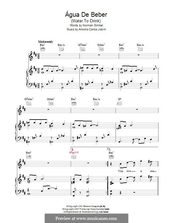 Agua de Beber (Water To Drink): Para vocais e piano (ou Guitarra) by Antonio Carlos Jobim