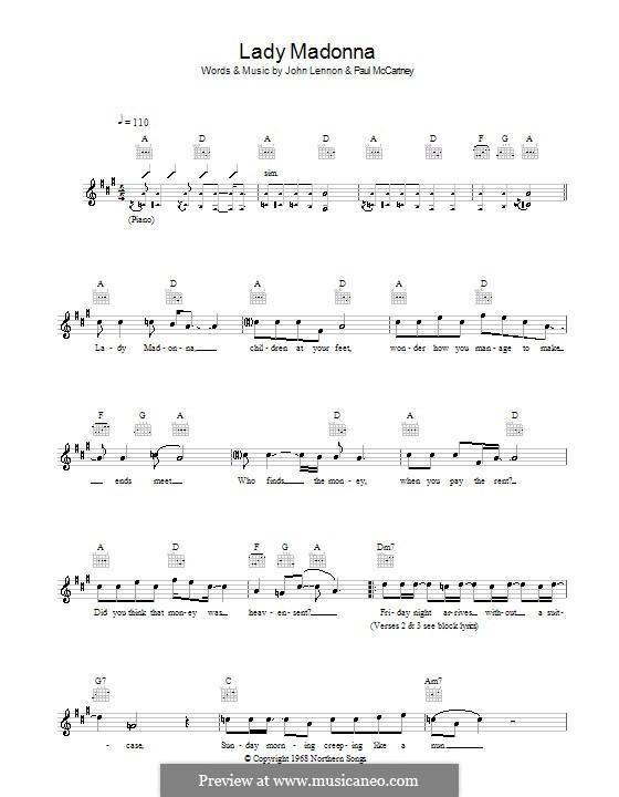 Lady Madonna (The Beatles): melodía,letras e acordes by John Lennon, Paul McCartney