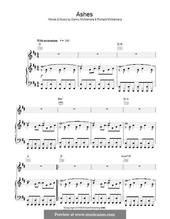 Ashes (Embrace): Para vocais e piano (ou Guitarra) by Danny McNamara, Richard McNamara
