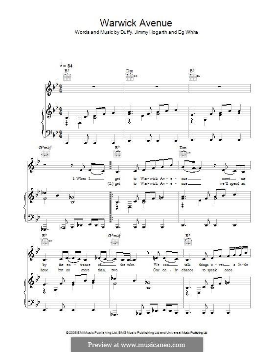 Warwick Avenue (Duffy): Para vocais e piano (ou Guitarra) by Jimmy Hogarth, Aimee Duffy, Eg White