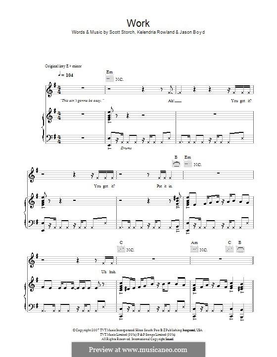 Work: Para vocais e piano (ou Guitarra) by Jason Boyd, Kelly Rowland, Scott Storch