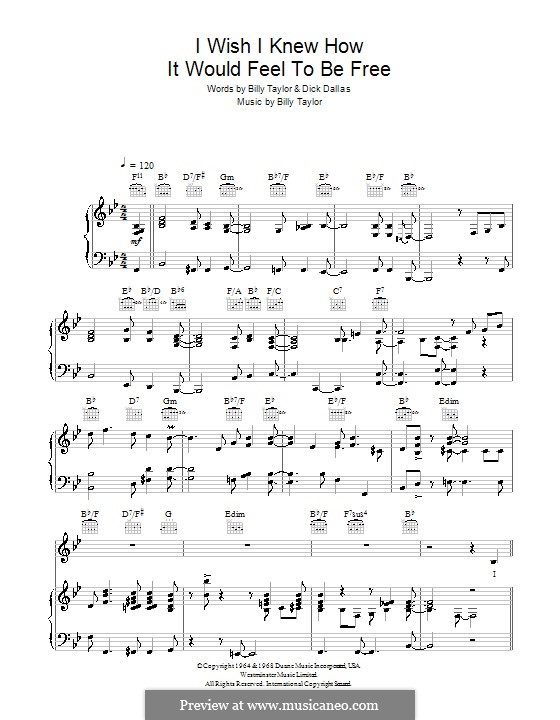 I Wish I Knew How it Would Feel to Be Free: para voz e piano ou guitarra (Nina Simone) by Billy Taylor