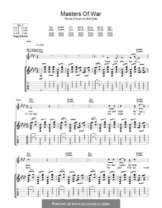 Masters of War: Para guitarra com guia by Bob Dylan