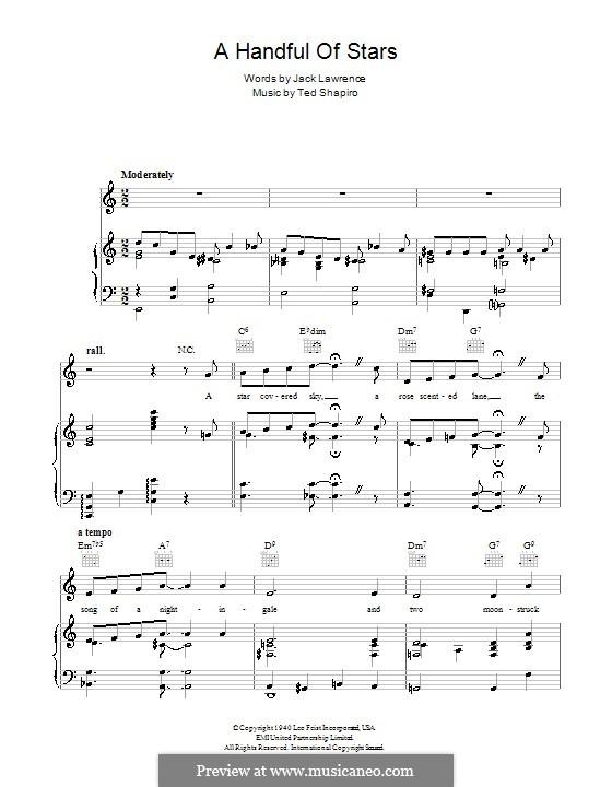 A Handful of Stars: Para vocais e piano (ou Guitarra) by Ted Shapiro