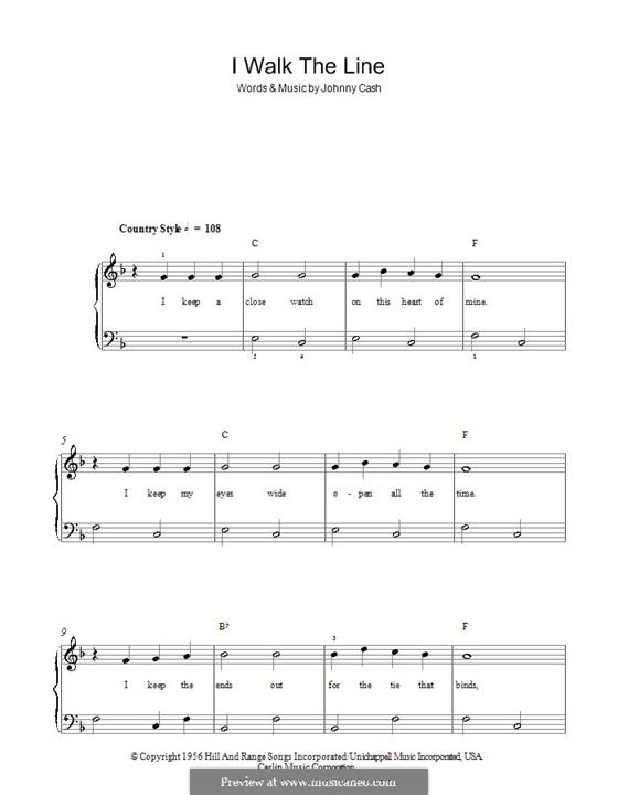 I Walk the Line: Facil para o piano by Johnny Cash