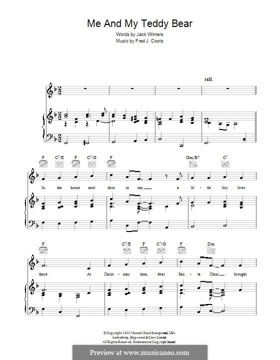 Me and My Teddy Bear: Para vocais e piano (ou Guitarra) by J. Fred Coots