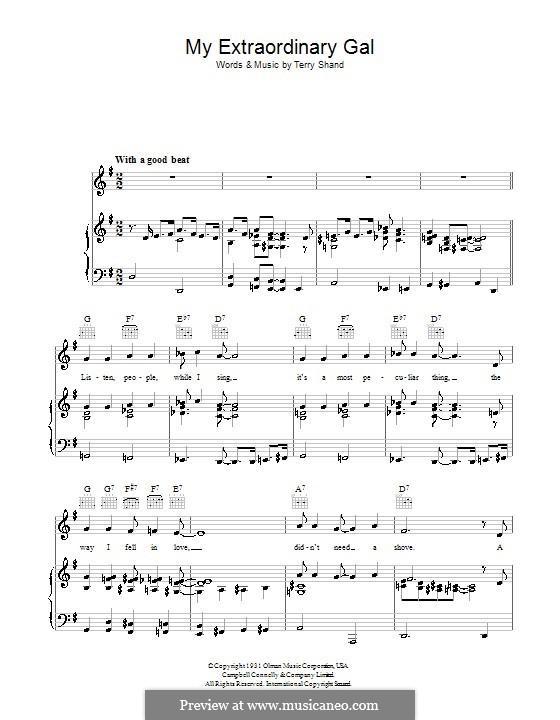 My Extraordinary Gal: Para vocais e piano (ou Guitarra) by Terry Shand