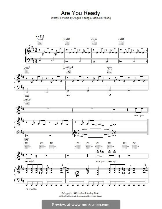 Are You Ready (AC/DC): Para vocais e piano (ou Guitarra) by Angus Young, Malcolm Young