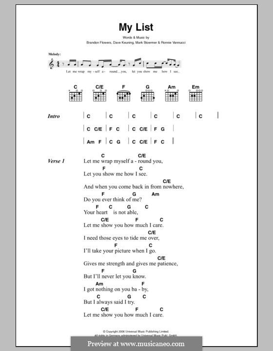 My List (The Killers): Letras e Acordes by Brandon Flowers, Dave Keuning, Mark Stoermer, Ronnie Vannucci